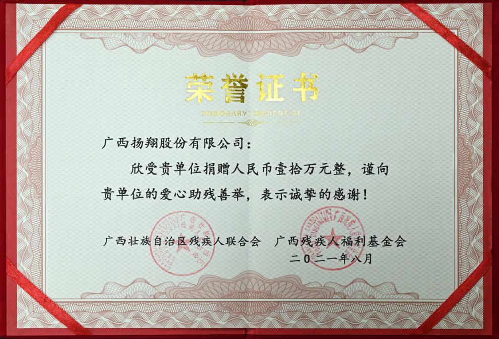 【动态】扬翔向广西残疾人福利基金会捐助10万元